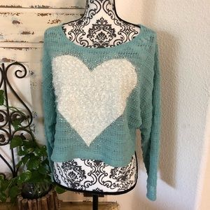 Delia's turquoise heart detail knit crop sweater
